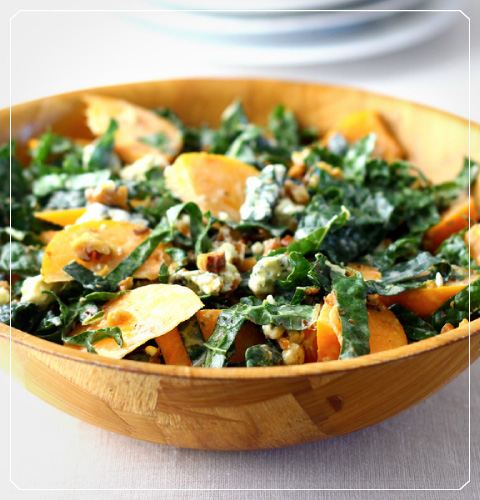 Kale and Persimmon Salad with Creamy Lemon Dressing and Vella Dry Jack Cheese
