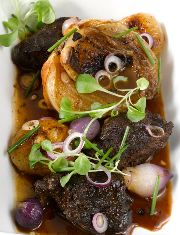 Braised Pork Cheeks, Three Onion Ragoût